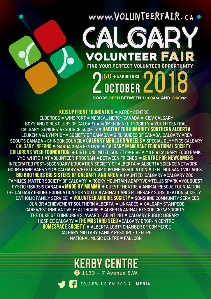 Calgary Volunteer Fair exhibitor poster 2018